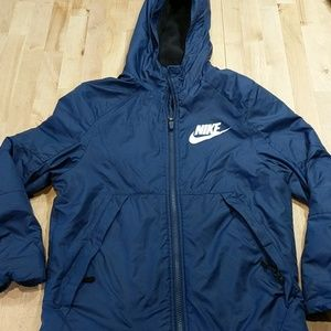 Nike boys navy blue fleece lined jacket, M